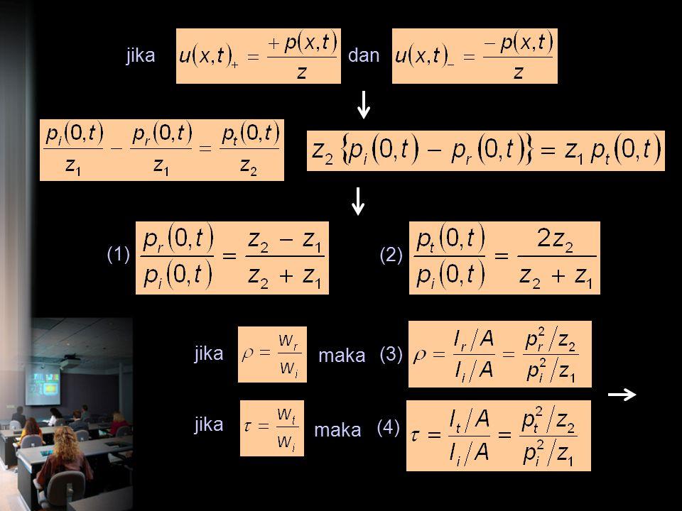 Transmisi melalui bidang batas 2 medium pipi prpr ptpt z 1 =  1 c 1 z 2 =  2 c 2 x = 0 2 syarat hukum kontinuitas harus dipenuhi 1.total tekanan sua