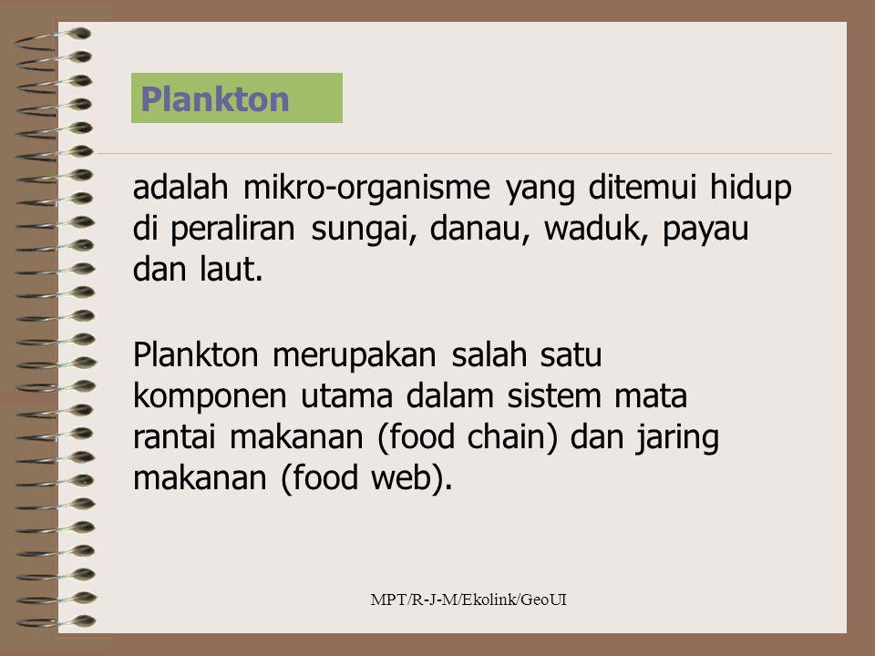 MPT/R-J-M/Ekolink/GeoUI Plankton adalah mikro-organisme yang ditemui hidup di peraliran sungai, danau, waduk, payau dan laut. Plankton merupakan salah