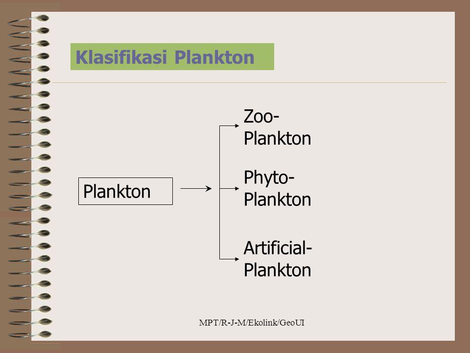 MPT/R-J-M/Ekolink/GeoUI Klasifikasi Plankton Plankton Zoo- Plankton Phyto- Plankton Artificial- Plankton