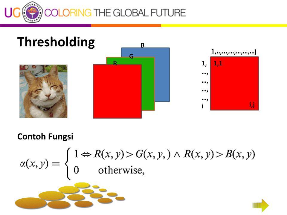 Thresholding 1,..,...,…,…,…,…j 1, …, i 1,1 i,j Contoh Fungsi R G B