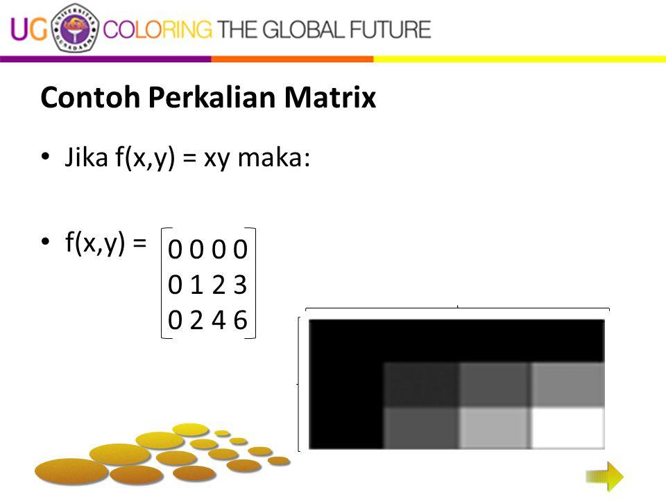 Contoh Perkalian Matrix Jika f(x,y) = xy maka: f(x,y) = 0 0 0 1 2 3 0 2 4 6