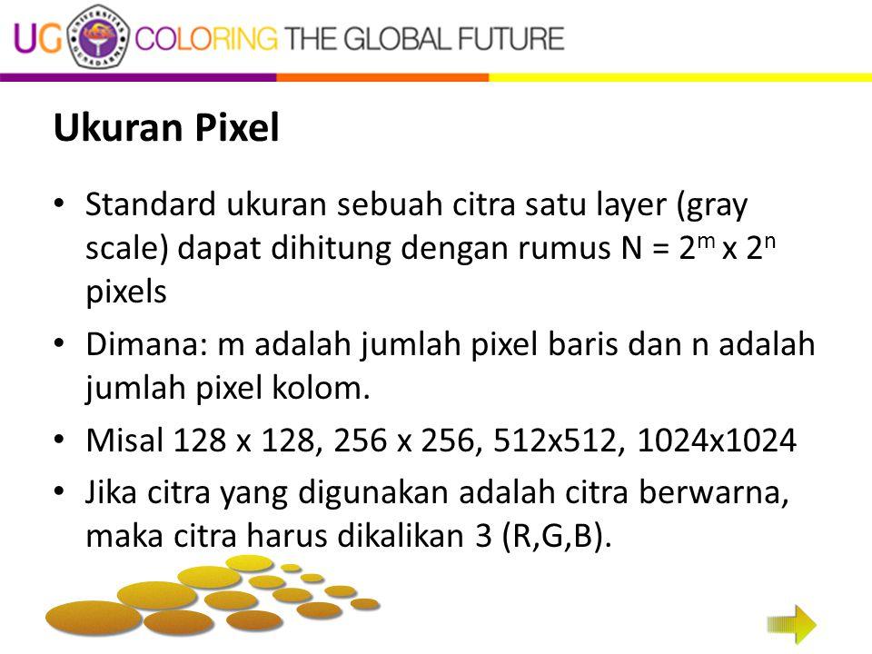 Ukuran Pixel Standard ukuran sebuah citra satu layer (gray scale) dapat dihitung dengan rumus N = 2 m x 2 n pixels Dimana: m adalah jumlah pixel baris