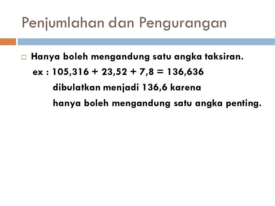 Penjumlahan dan Pengurangan  Hanya boleh mengandung satu angka taksiran. ex : 105,316 + 23,52 + 7,8 = 136,636 dibulatkan menjadi 136,6 karena hanya b
