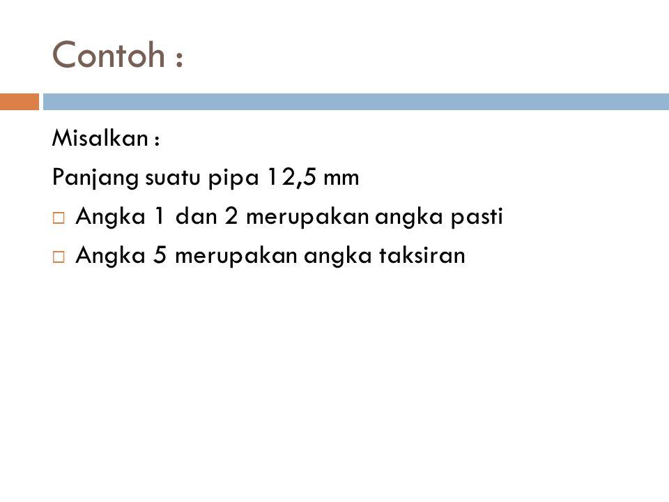 Contoh : Misalkan : Panjang suatu pipa 12,5 mm  Angka 1 dan 2 merupakan angka pasti  Angka 5 merupakan angka taksiran