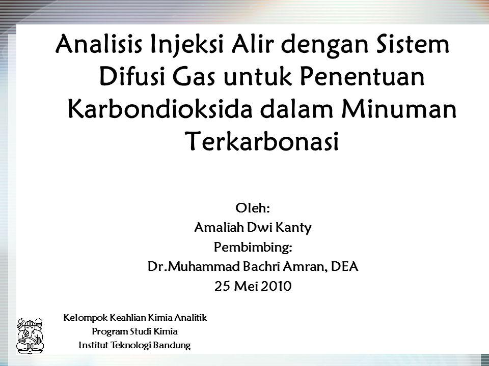 Analisis Injeksi Alir dengan Sistem Difusi Gas untuk Penentuan Karbondioksida dalam Minuman Terkarbonasi Oleh: Amaliah Dwi Kanty Pembimbing: Dr.Muhamm