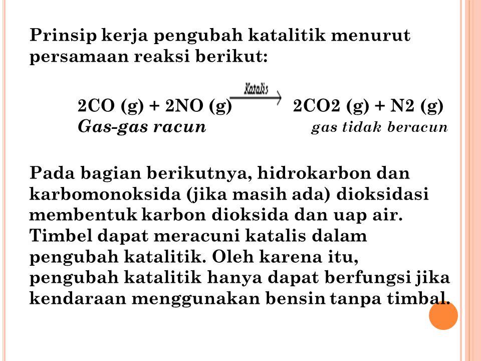 Prinsip kerja pengubah katalitik menurut persamaan reaksi berikut: 2CO (g) + 2NO (g) 2CO2 (g) + N2 (g) Gas-gas racun gas tidak beracun Pada bagian ber