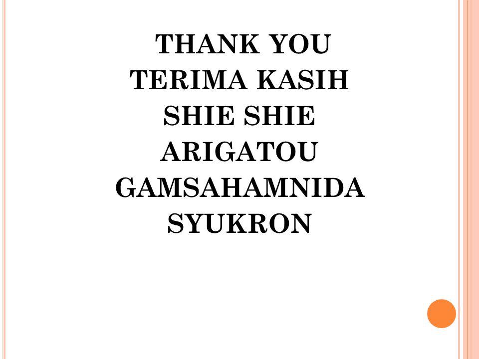 THANK YOU TERIMA KASIH SHIE ARIGATOU GAMSAHAMNIDA SYUKRON
