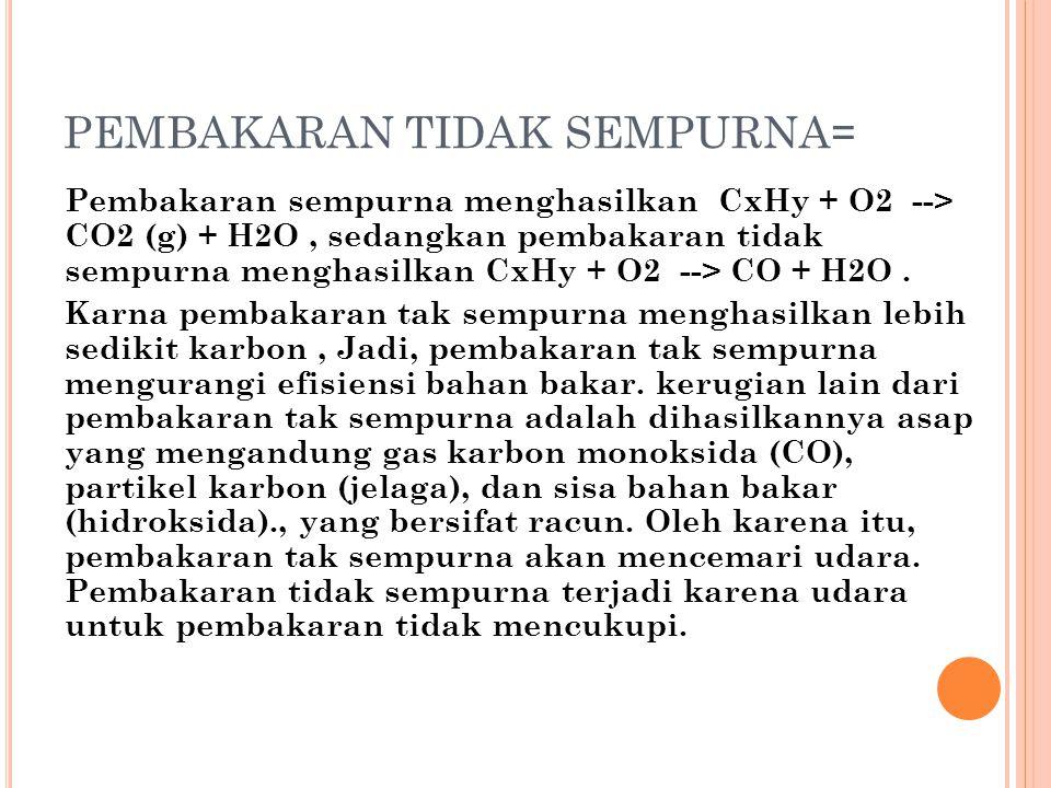 PEMBAKARAN TIDAK SEMPURNA = Pembakaran sempurna menghasilkan CxHy + O2 --> CO2 (g) + H2O, sedangkan pembakaran tidak sempurna menghasilkan CxHy + O2 -