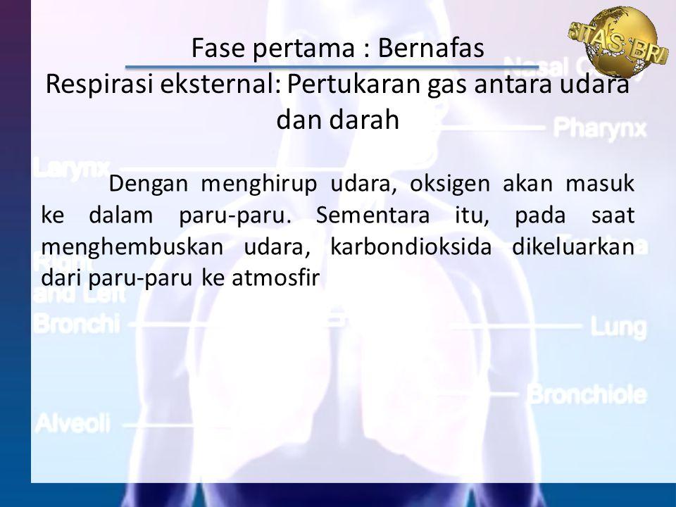 Dengan menghirup udara, oksigen akan masuk ke dalam paru-paru. Sementara itu, pada saat menghembuskan udara, karbondioksida dikeluarkan dari paru-paru
