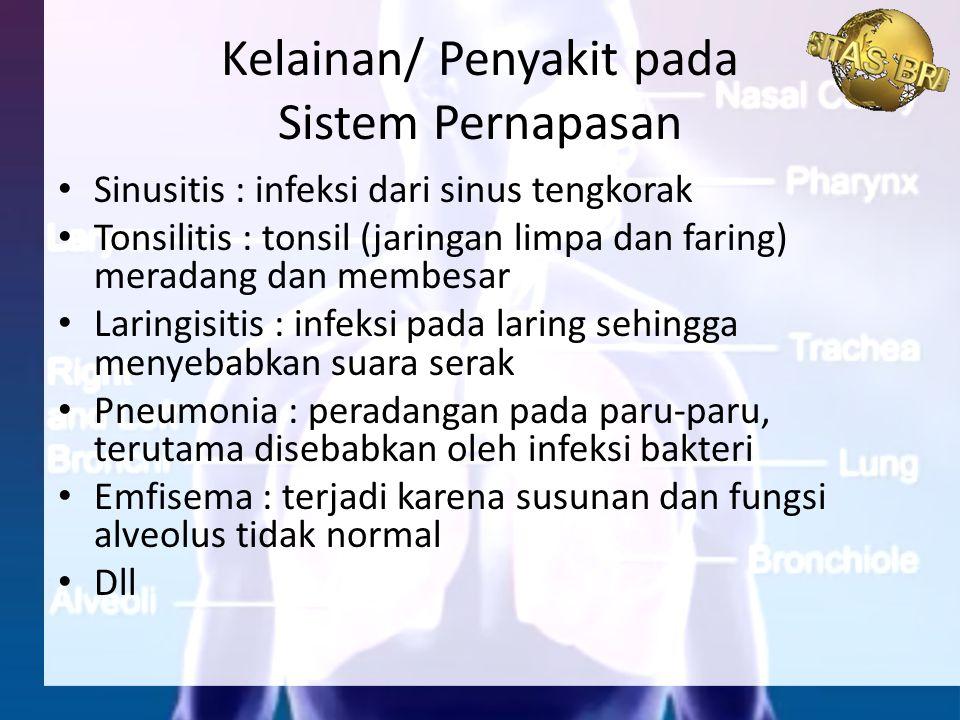 Sinusitis : infeksi dari sinus tengkorak Tonsilitis : tonsil (jaringan limpa dan faring) meradang dan membesar Laringisitis : infeksi pada laring sehi