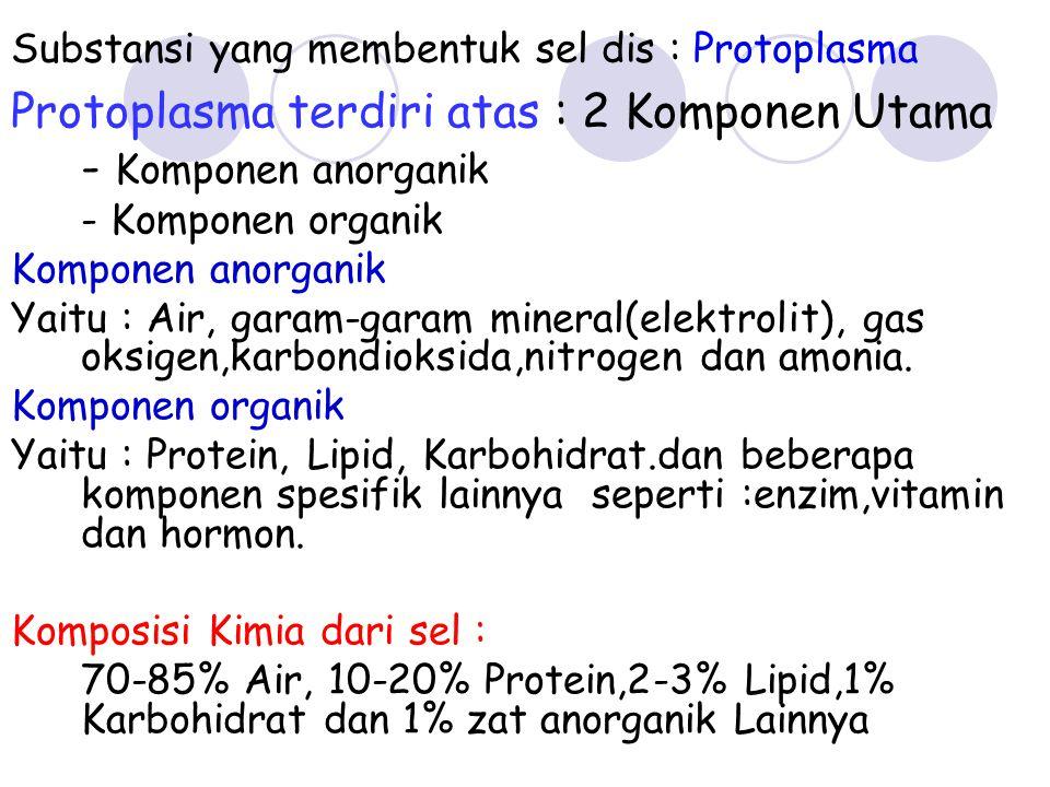 Substansi yang membentuk sel dis : Protoplasma Protoplasma terdiri atas : 2 Komponen Utama - Komponen anorganik - Komponen organik Komponen anorganik
