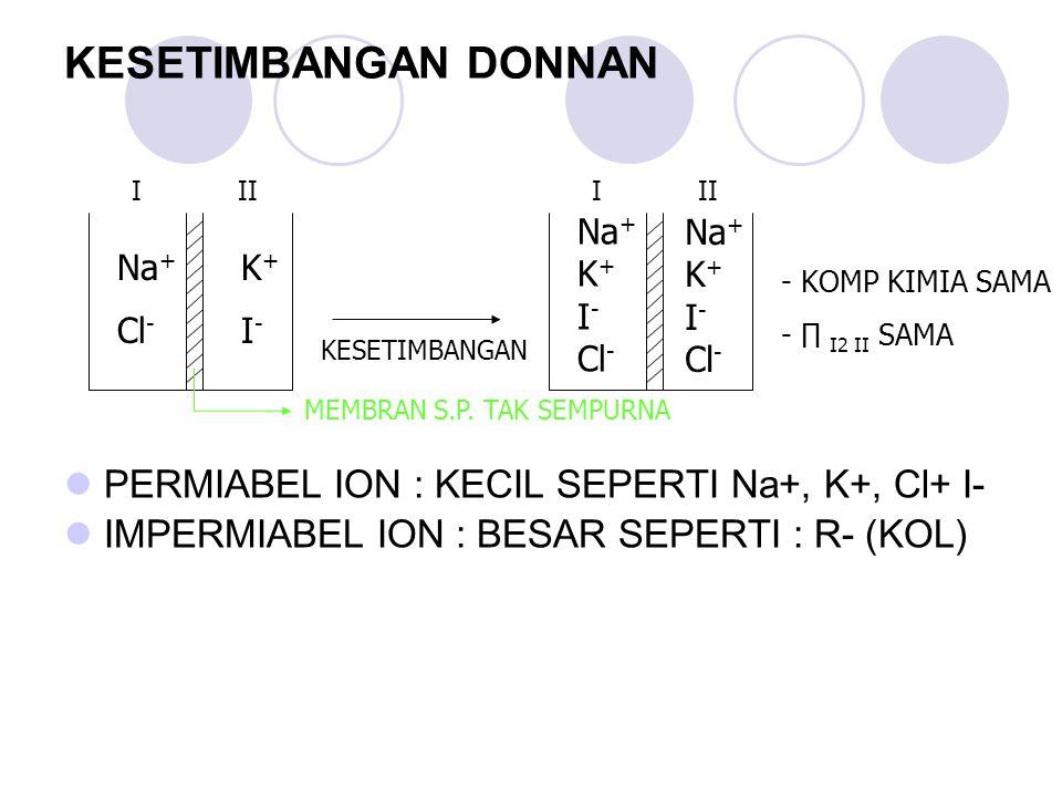 KESETIMBANGAN DONNAN PERMIABEL ION : KECIL SEPERTI Na+, K+, Cl+ I- IMPERMIABEL ION : BESAR SEPERTI : R- (KOL) -KOMP KIMIA SAMA -∏ I2 II SAMA Na + Cl -