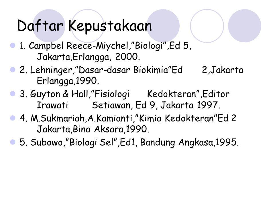 "Daftar Kepustakaan 1. Campbel Reece-Miychel,""Biologi"",Ed 5, Jakarta,Erlangga, 2000. 2. Lehninger,""Dasar-dasar Biokimia""Ed 2,Jakarta Erlangga,1990. 3."