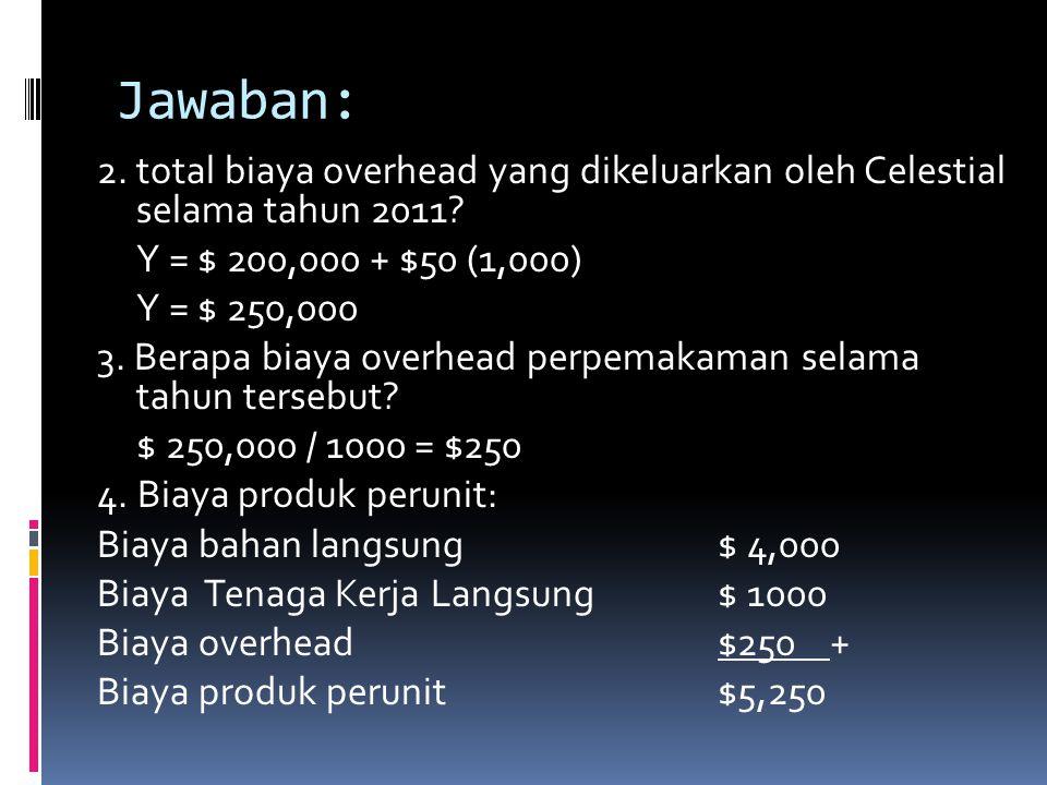 Jawaban: 2. total biaya overhead yang dikeluarkan oleh Celestial selama tahun 2011? Y = $ 200,000 + $50 (1,000) Y = $ 250,000 3. Berapa biaya overhead