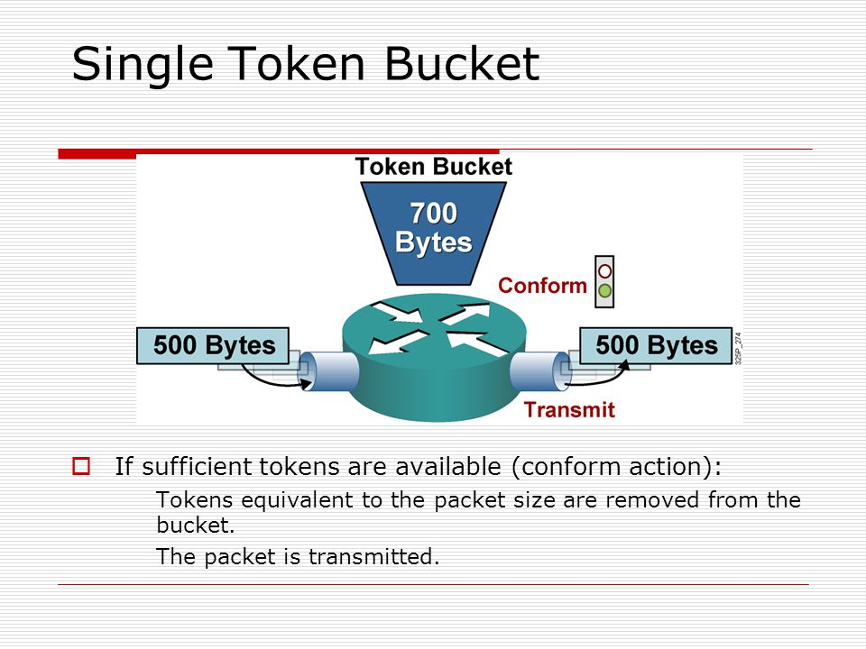 Single Token Bucket  If sufficient tokens are available (conform action): Tokens equivalent to the packet size are removed from the bucket. The packe