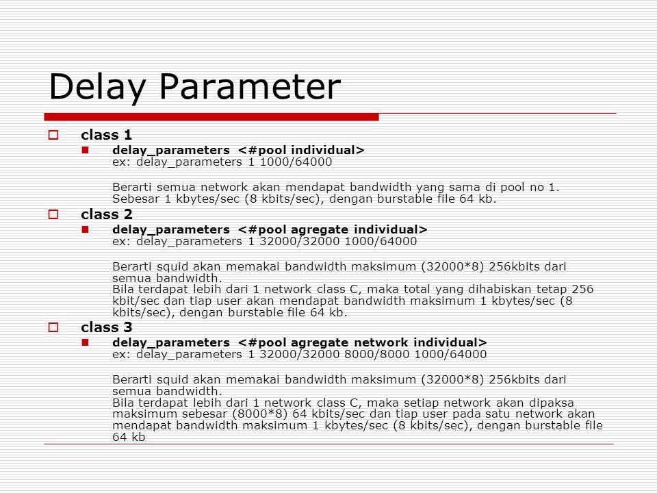 Delay Parameter  class 1 delay_parameters ex: delay_parameters 1 1000/64000 Berarti semua network akan mendapat bandwidth yang sama di pool no 1.