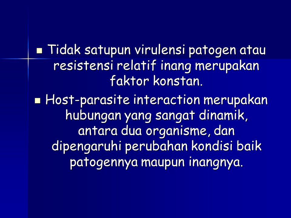 Tidak satupun virulensi patogen atau resistensi relatif inang merupakan faktor konstan. Tidak satupun virulensi patogen atau resistensi relatif inang