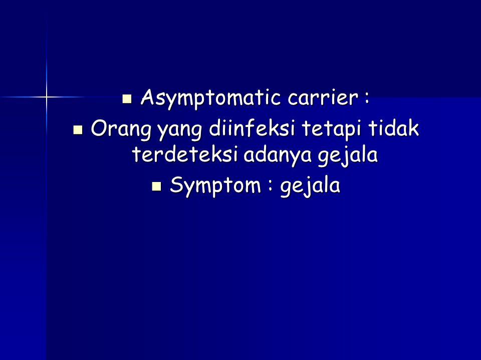 Asymptomatic carrier : Asymptomatic carrier : Orang yang diinfeksi tetapi tidak terdeteksi adanya gejala Orang yang diinfeksi tetapi tidak terdeteksi