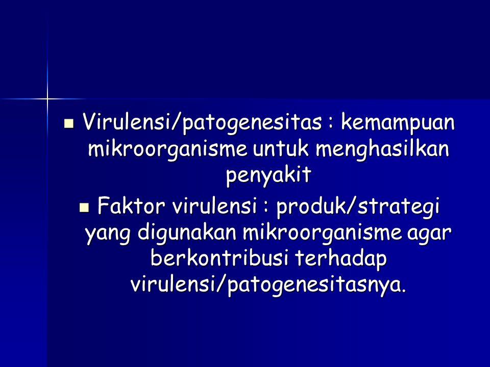 Virulensi/patogenesitas : kemampuan mikroorganisme untuk menghasilkan penyakit Virulensi/patogenesitas : kemampuan mikroorganisme untuk menghasilkan penyakit Faktor virulensi : produk/strategi yang digunakan mikroorganisme agar berkontribusi terhadap virulensi/patogenesitasnya.