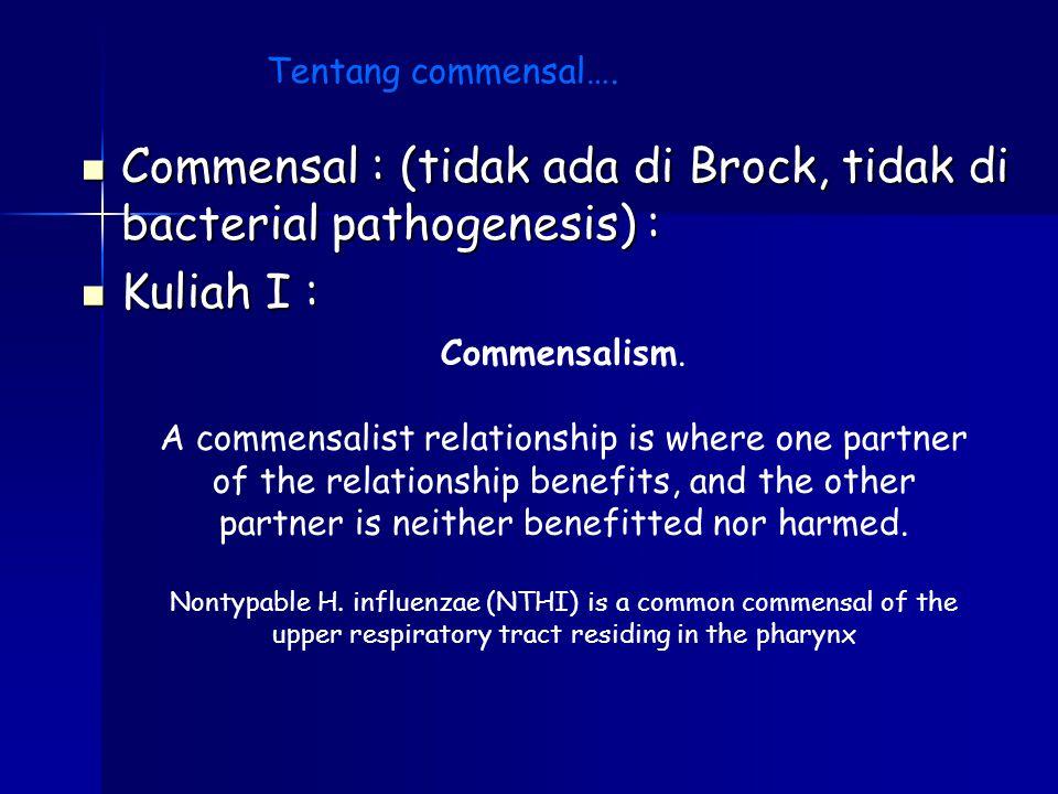 Commensal : (tidak ada di Brock, tidak di bacterial pathogenesis) : Commensal : (tidak ada di Brock, tidak di bacterial pathogenesis) : Kuliah I : Kul