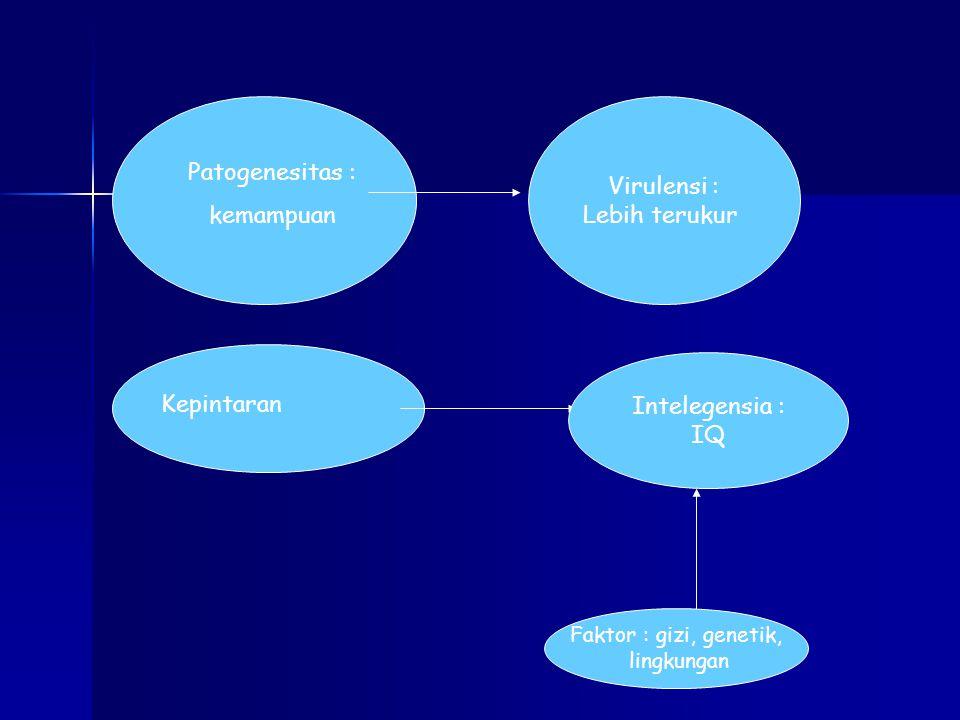 Patogenesitas : kemampuan Kepintaran Virulensi : Lebih terukur Intelegensia : IQ Faktor : gizi, genetik, lingkungan