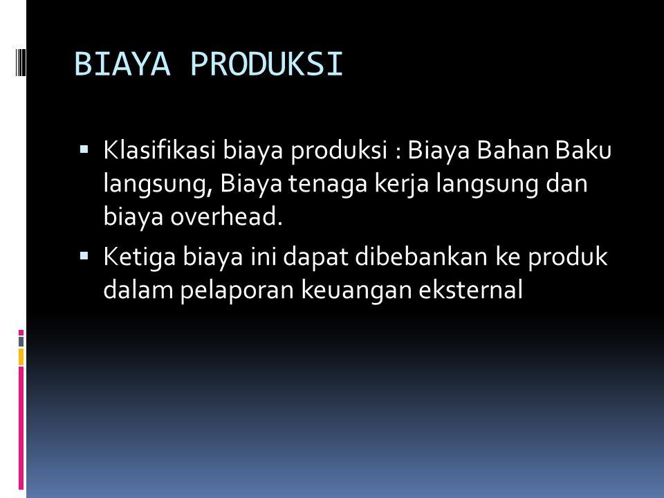 BIAYA PRODUKSI  Klasifikasi biaya produksi : Biaya Bahan Baku langsung, Biaya tenaga kerja langsung dan biaya overhead.  Ketiga biaya ini dapat dibe