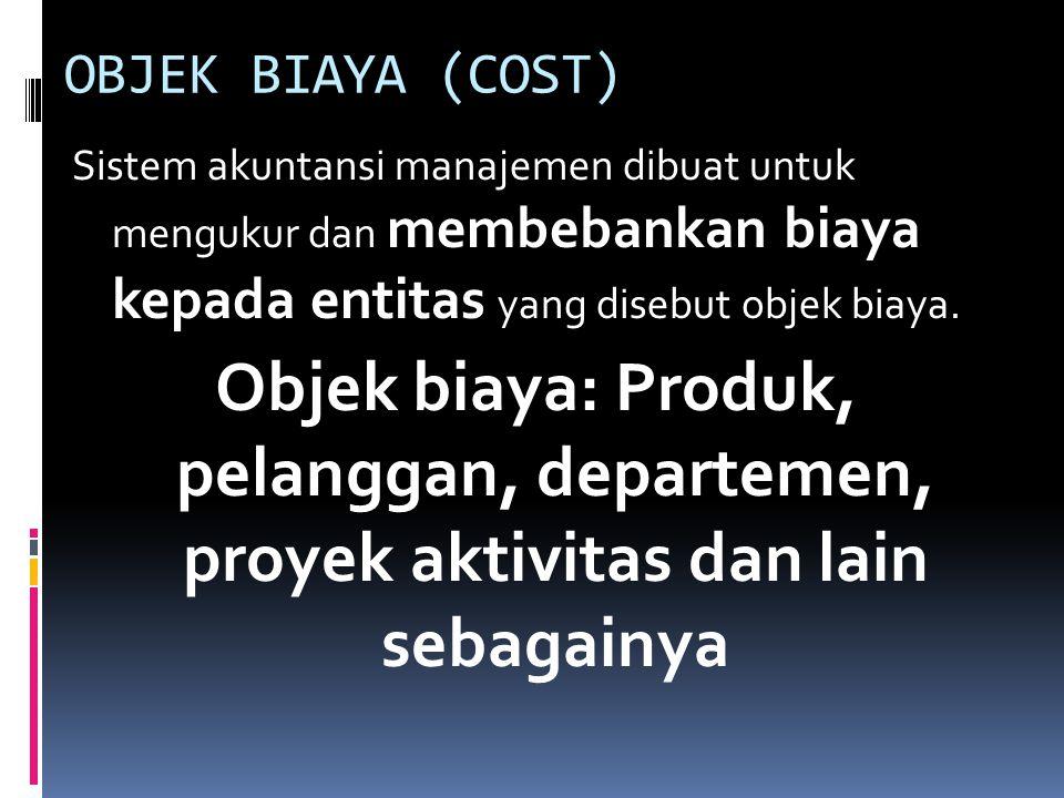 OBJEK BIAYA (COST) Sistem akuntansi manajemen dibuat untuk mengukur dan membebankan biaya kepada entitas yang disebut objek biaya. Objek biaya: Produk