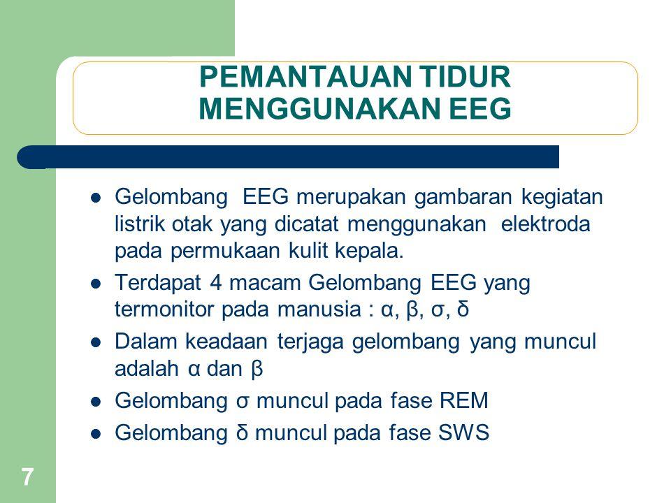 7 PEMANTAUAN TIDUR MENGGUNAKAN EEG Gelombang EEG merupakan gambaran kegiatan listrik otak yang dicatat menggunakan elektroda pada permukaan kulit kepa