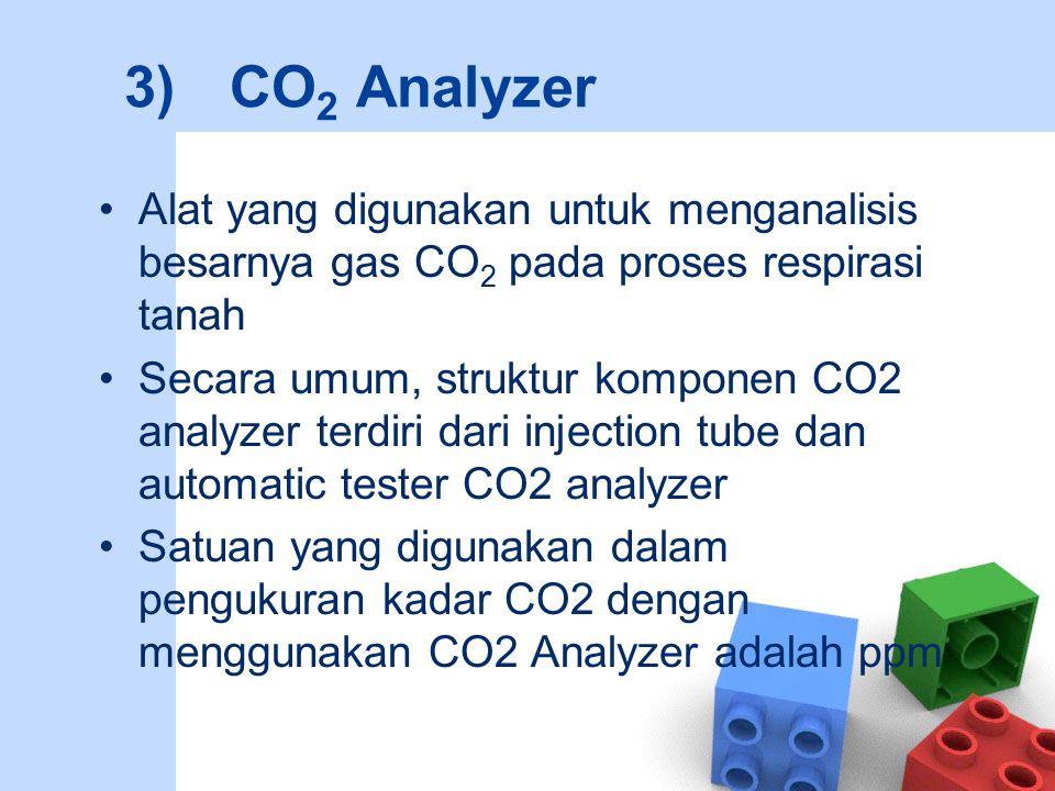 3)CO 2 Analyzer Alat yang digunakan untuk menganalisis besarnya gas CO 2 pada proses respirasi tanah Secara umum, struktur komponen CO2 analyzer terdi