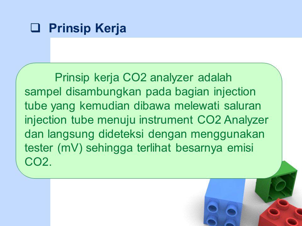  Prinsip Kerja Prinsip kerja CO2 analyzer adalah sampel disambungkan pada bagian injection tube yang kemudian dibawa melewati saluran injection tube