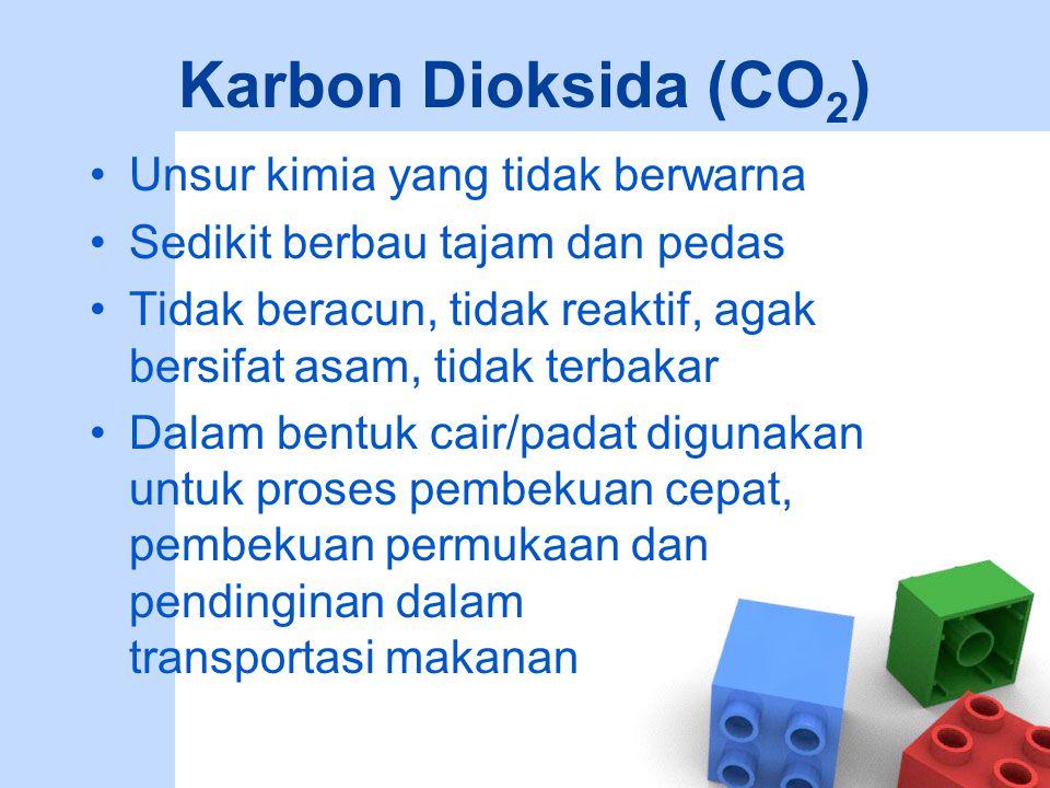 Karbon Dioksida (CO 2 ) Digunakan untuk minuman karbonat ringan, bir, dan anggur dan untuk mencegah pertumbuhan jamur dan bakteri Dapat digunakan untuk menggantikan udara selama pengalengan