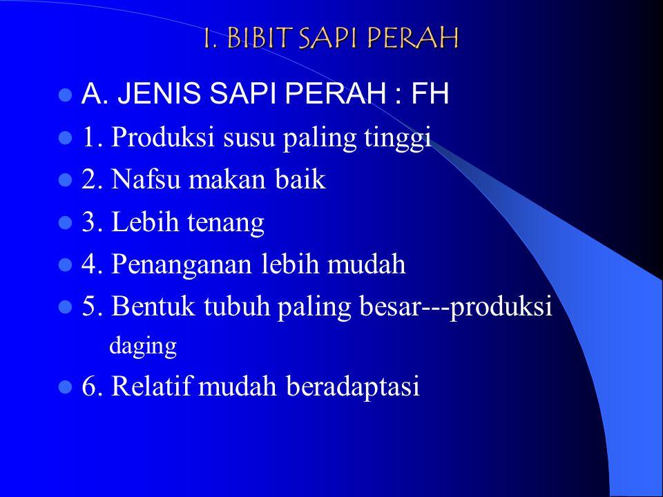 I.BIBIT SAPI PERAH A. JENIS SAPI PERAH : FH 1. Produksi susu paling tinggi 2.