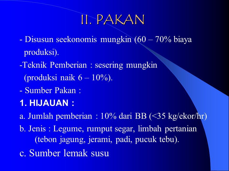 II.PAKAN - Disusun seekonomis mungkin (60 – 70% biaya produksi).