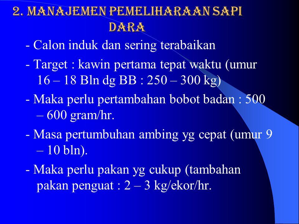 e. Biaya Pembesaran pedet besar : Biaya Pemberian susu segar sampai sapih ( umur 3 bln) - umur 5 hr – 1 bl : 25 hr x 4,5 lt = 112,5 lt - Umur 30 – 60