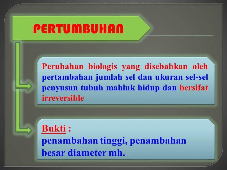 PERTUMBUHAN Perubahan biologis yang disebabkan oleh pertambahan jumlah sel dan ukuran sel-sel penyusun tubuh mahluk hidup dan bersifat irreversible Bu