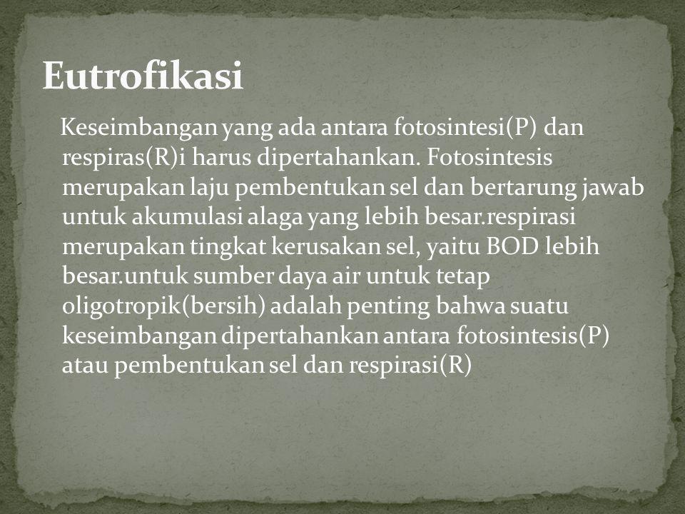 Keseimbangan yang ada antara fotosintesi(P) dan respiras(R)i harus dipertahankan.