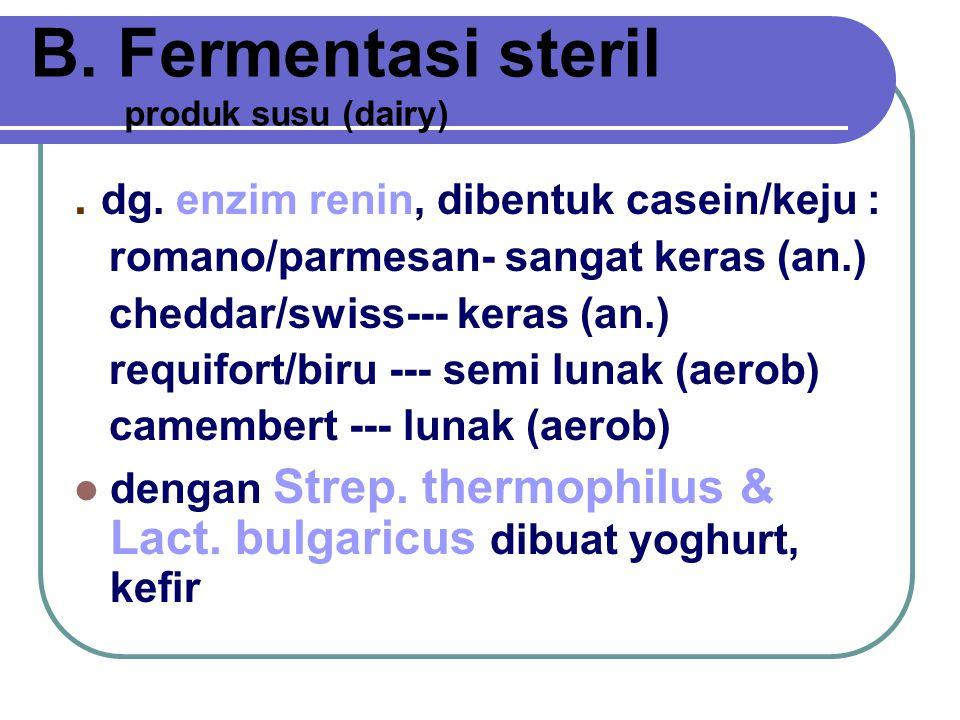 A. Fermentasi non steril Bahan: selulosa, etanol, minyak bumi, kertas, limbah industri / kehutanan Bakteri pelaku : berbagai bakteri, spirulina, sacha