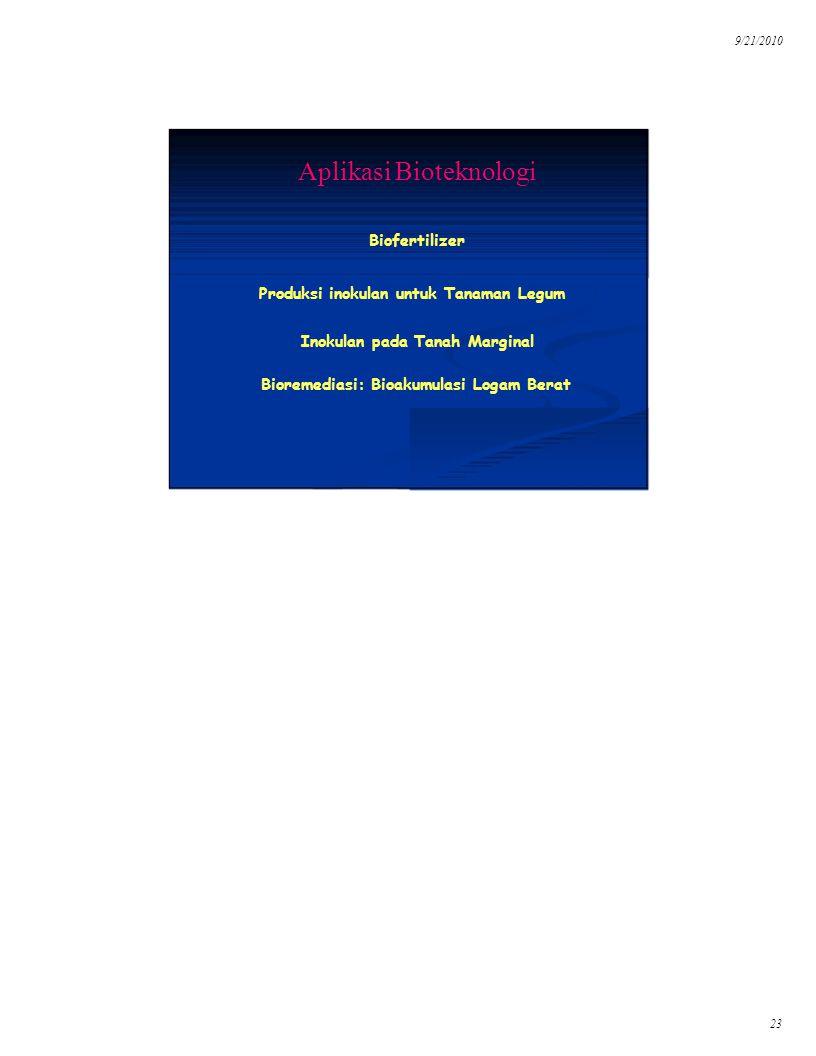 9/21/2010 23 Aplikasi Bioteknologi Produksi inokulan untuk Tanaman Legum Biofertilizer Bioremediasi: Bioakumulasi Logam Berat Inokulan pada Tanah Marg