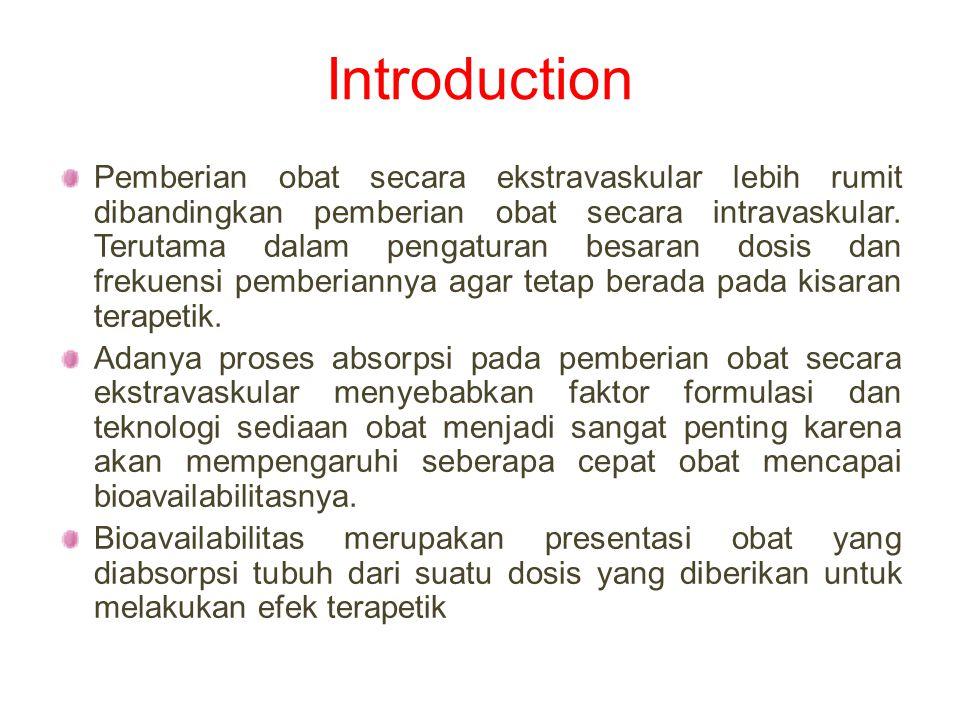 Introduction Pemberian obat secara ekstravaskular lebih rumit dibandingkan pemberian obat secara intravaskular. Terutama dalam pengaturan besaran dosi