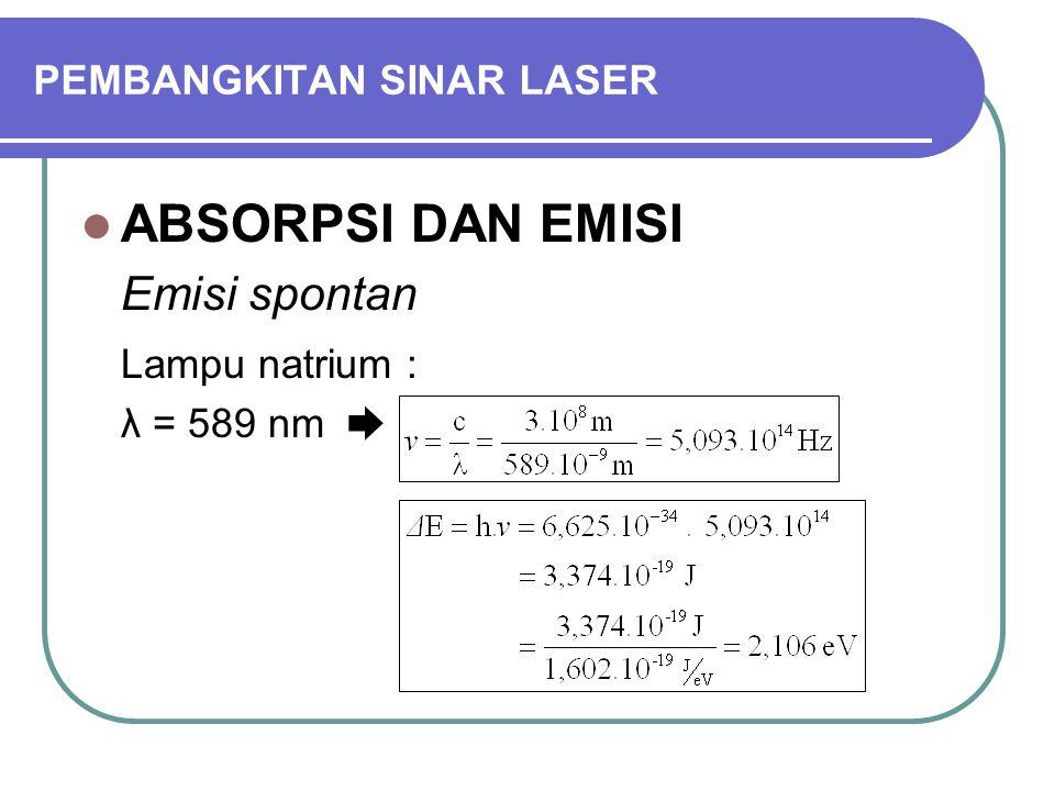 PEMBANGKITAN SINAR LASER ABSORPSI DAN EMISI Emisi spontan Lampu natrium : λ = 589 nm ➨