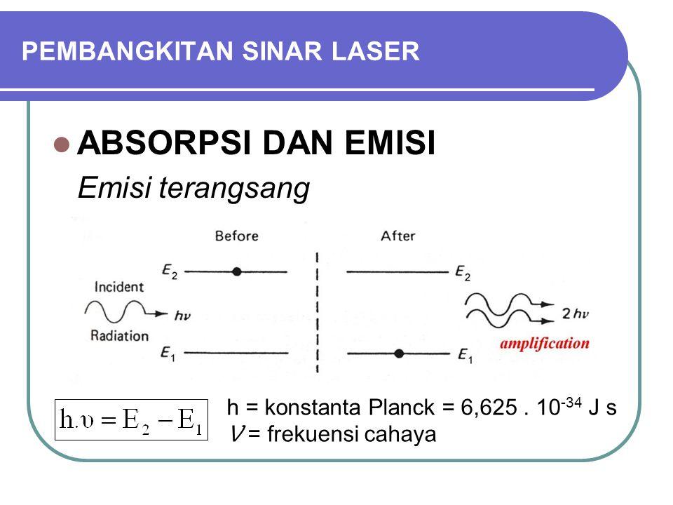 PEMBANGKITAN SINAR LASER ABSORPSI DAN EMISI Emisi terangsang h = konstanta Planck = 6,625. 10 -34 J s Ʋ = frekuensi cahaya