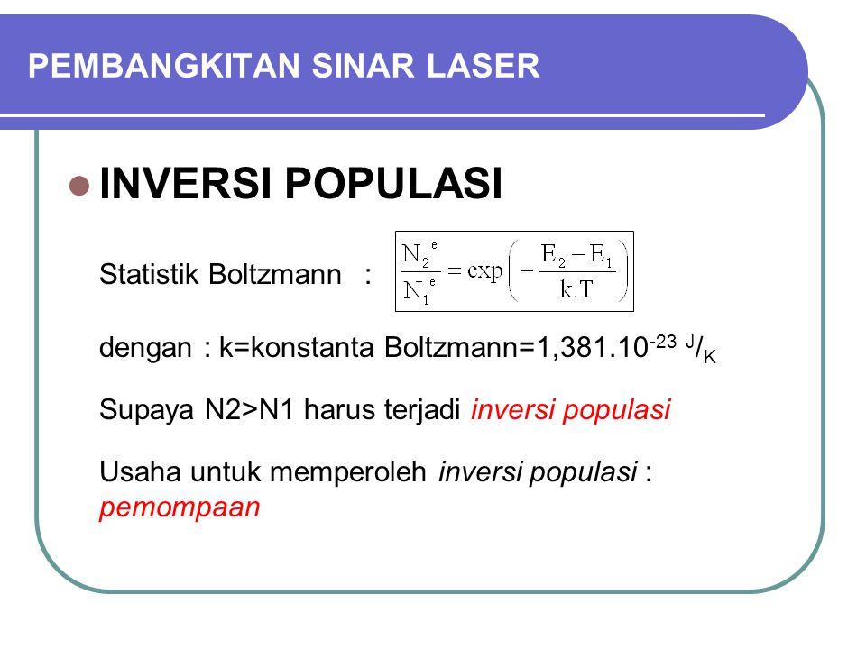 PEMBANGKITAN SINAR LASER INVERSI POPULASI Statistik Boltzmann : dengan : k=konstanta Boltzmann=1,381.10 -23 J / K Supaya N2>N1 harus terjadi inversi populasi Usaha untuk memperoleh inversi populasi : pemompaan