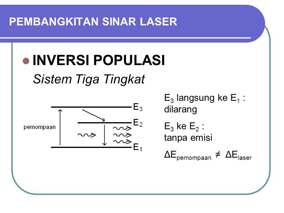 PEMBANGKITAN SINAR LASER INVERSI POPULASI Sistem Tiga Tingkat E 3 langsung ke E 1 : dilarang E 3 ke E 2 : tanpa emisi ΔE pemompaan ≠ ΔE laser