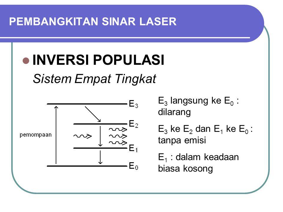 PEMBANGKITAN SINAR LASER INVERSI POPULASI Sistem Empat Tingkat E 3 langsung ke E 0 : dilarang E 3 ke E 2 dan E 1 ke E 0 : tanpa emisi E 1 : dalam keadaan biasa kosong