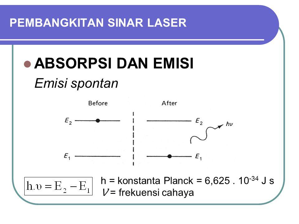 PEMBANGKITAN SINAR LASER ABSORPSI DAN EMISI Emisi spontan Laju penurunan : N 2 = jumlah atom pada tingkat energi E 2 A = kemungkinan emisi spontan = koefisien Einstein Waktu tinggal rata-rata :