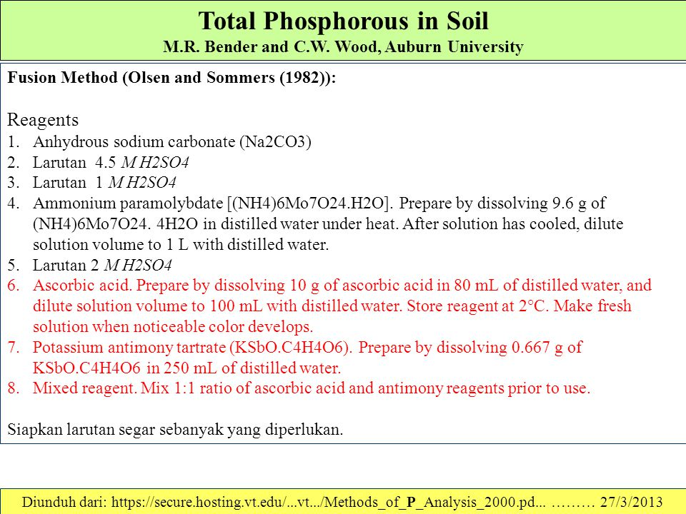 Total Phosphorous in Soil M.R. Bender and C.W. Wood, Auburn University In recent years, more rapid methods for determining total P in soils have been