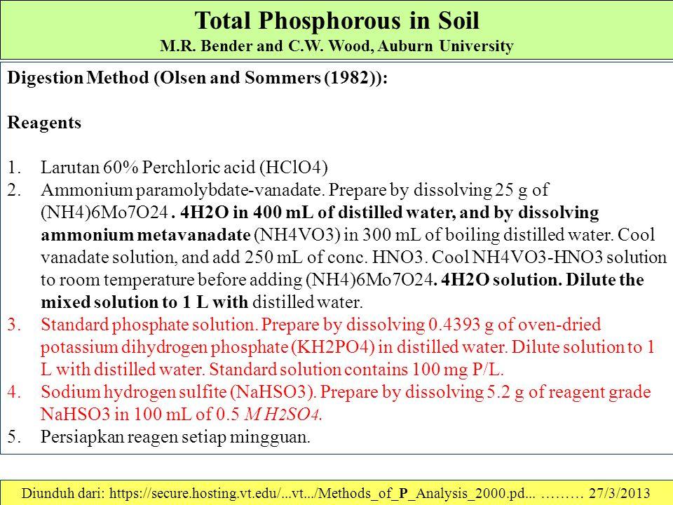 Total Phosphorous in Soil M.R. Bender and C.W. Wood, Auburn University KOMENTAR The method for color development was described by Harwood et al. (1969