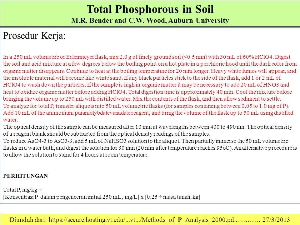 Total Phosphorous in Soil M.R. Bender and C.W. Wood, Auburn University Digestion Method (Olsen and Sommers (1982)): Reagents 1.Larutan 60% Perchloric