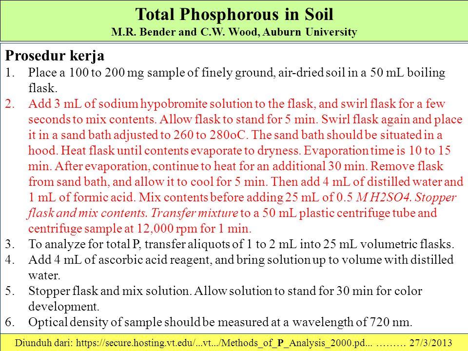 Total Phosphorous in Soil M.R. Bender and C.W. Wood, Auburn University Metode Oksidasi Alkaline (Dick and Tabatabai (1977)): Pereaksi - Reagents 1.Sod