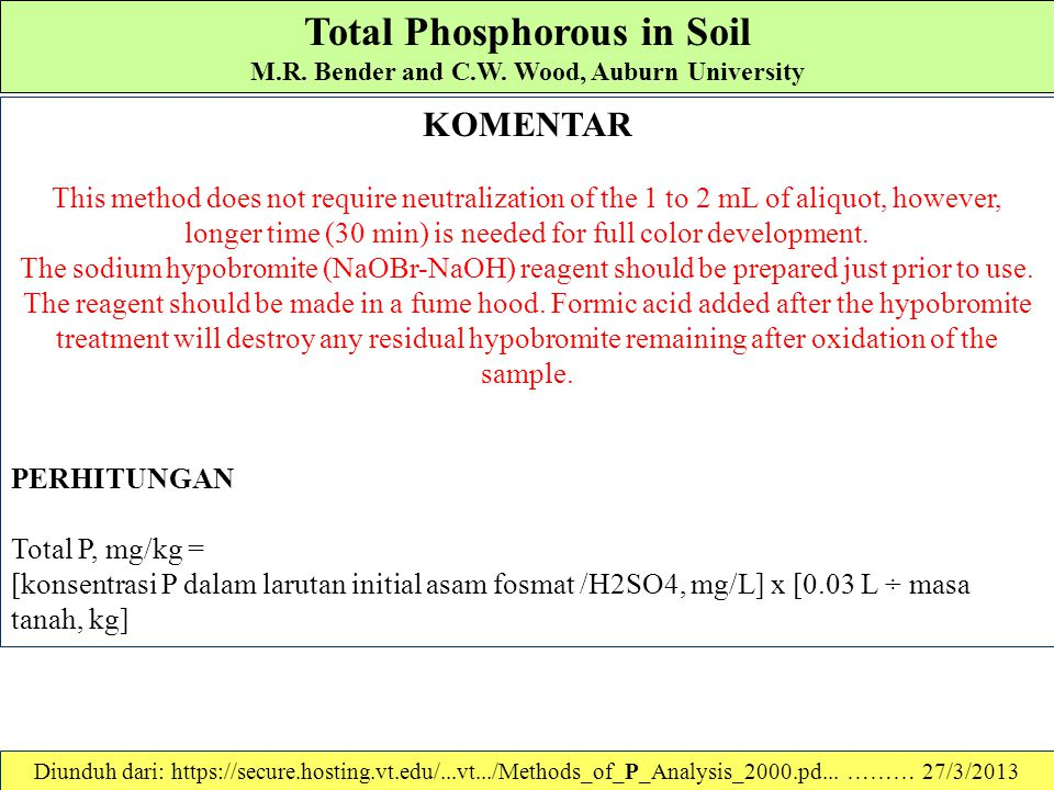 Total Phosphorous in Soil M.R. Bender and C.W. Wood, Auburn University Prosedur kerja 1.Place a 100 to 200 mg sample of finely ground, air-dried soil